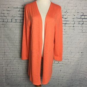 CHICO'S 1 M Open Front Cardigan Orange Pockets